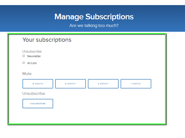 unsubscribe shortcode unfolded